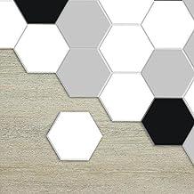 APSOONSELL Carrelage Adhesif Cuisine Hexagonal Autocollant A Motifs Moderne En Noir Et Blanc Longueur 115