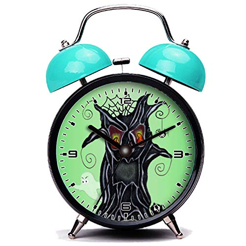 girlsight Blauer Wecker, Nette Katze Beängstigend Black Tree Gesicht Ghost Cat Spider Halloween Twin Bell Wecker mit Nachtlicht