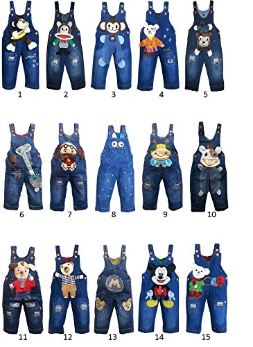 baby toddler boy girl unisex denim dungarees jeans playsuit 6-12 12-18 18-24 NEW (6-12 months, 1)
