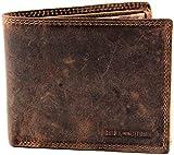 Hill Burry Vintage Herren Portemonnaie | Edle Geldbörse aus hochwertigem Echt-Leder | Designer Portmonee mit vielen Kartenfächern |