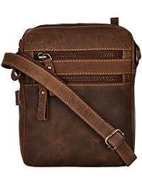 Adamburk Unisex Cross-Body Leather Bag (Black, Ab-026)