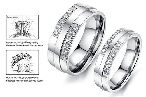 HOUSWEETY Anneau Bague Alliance Couples de Fiancailles / Anniversaire / Mariage / Amour en Acier Inoxydable pour Homme Femme + 56.5
