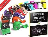 Cinta para kinesiología (2unidades, o 1unidades) PHYSIX Gear Sport, 5cm x 5m rollo, mejor impermeable soporte muscular adhesivo, Fisioterapia terapéutico ayuda, incluye cinta 82pg paso a paso guía electrónica