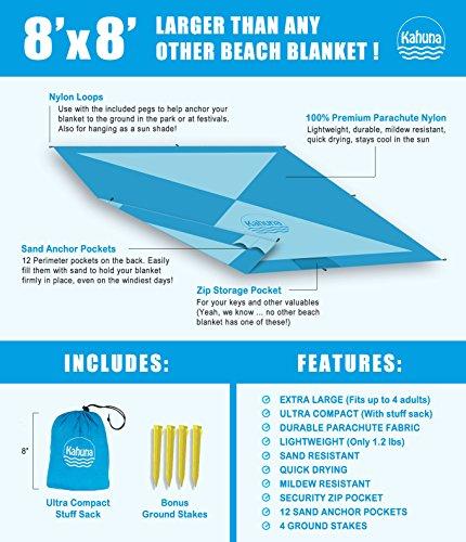Kahuna Strandtuch aus Fallschirmseide – XXL 245 x 245 cm – die größte Stranddecke, Picknickdecke, Campingdecke erhältlich – tragbar, ultraleicht, schnell trocknend, mit 12 Sandtaschen - 7