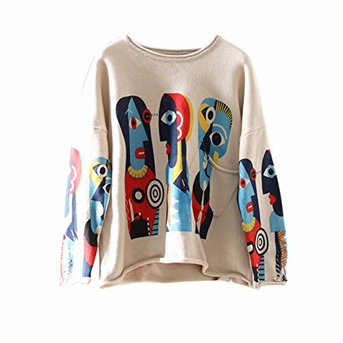 Xuanku The Pullover Sweater Loose T-Shirt Girl Cartoon Printing Hole Coat