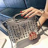 MCCS Damentasche UmhäNgetasche Handtasche Rucksack Makeup Mode Trend Freizeit Wasserdicht Typ Volltonfarbe 2018,Silver