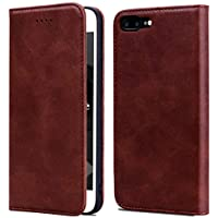 """OJBKase iPhone 8 Plus/iPhone 7 Plus Case, Premium Slim Flip PU Leather [Viewing Stand][Card Holder][Magnetic Closure] Protective Wallet Case Cover for Apple iPhone 8 Plus/iPhone 7 Plus 5.5"""" (Brown)"""