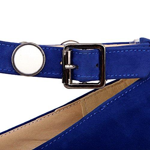 AgooLar Damen Niedriger Absatz Rein Schnalle Mikrofaser Spitz Zehe Pumps Schuhe Blau