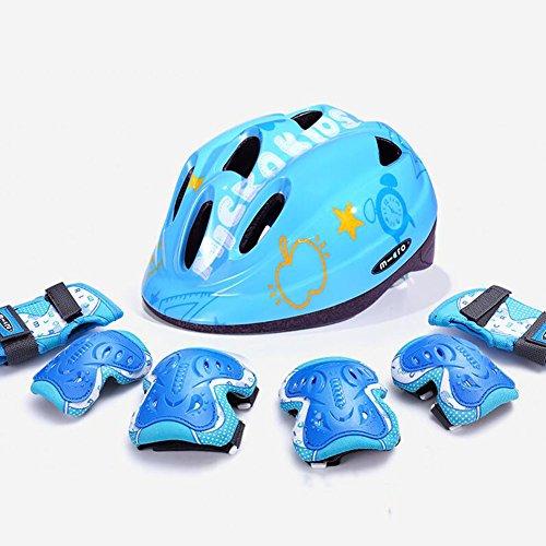 WX xin Kinderschutzausrüstung Verstellbarer Helm Knieschoner Ellbogenschützer Skateboard Eislaufen Fahrrad Roller Skates (Farbe : Plus Thick Blue, größe : L)