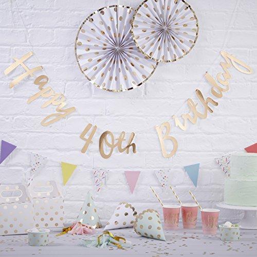 Ginger Ray Gold Designer Happy 40th Birthday butning Banner Dekoration-Pick und Mix