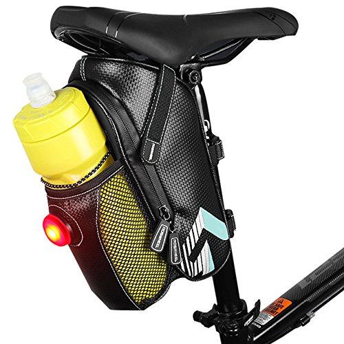 Fahrrad Satteltasche, BODECIN Wasserdicht Fahrrad Seat Bag Pack mit Wasser Flasche Taschen Halter Bike Rücklicht und Reflektierende Streifen für Outdoor Radfahren Reiten Sicherheit (Flasche Nicht Inbegriffen) - Himmel Blau (Flasche Runde Mittlere)