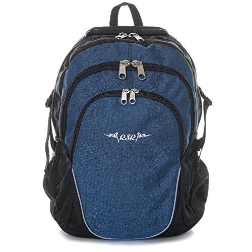 Roomster Jungen Mädchen Schul Rucksack Ranzen 18l groß leicht stabil 21597, Farbe:Blau (Blu-ranzen)