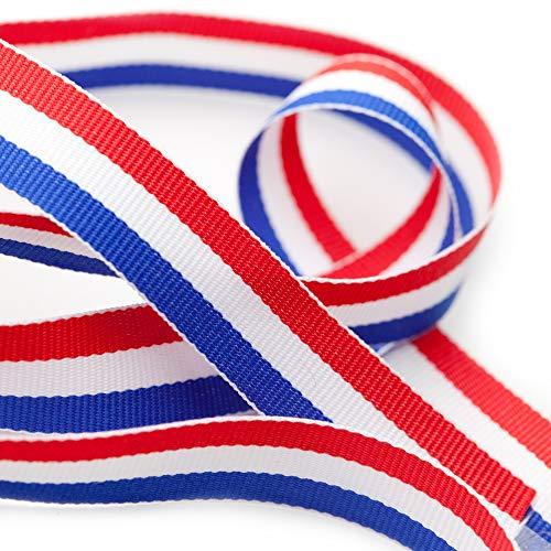 TRIXES 45m x 10mm Französisch Trikolore Dekorative Nylon Band Spule rot weiß blau für Bastille Day Arts Crafts Patriotische Banner National Feiern (Banner Blaue Und Rote Weiße)