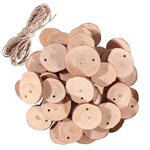 SUPVOX Holzscheiben Runde Naturholz Verzierung Scheiben mit Seil für DIY Handwerk Malen Basteln Hochzeit Mittelstücke 3-4cm 50 Stück