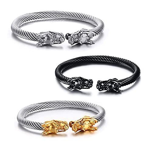 Vnox Mens Stainless Steel Opposite Dragon Head Wire Viking Cuff Bangle Bracelet Silver Gold Black,Pack of 3