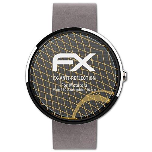 atFoliX Panzerfolie kompatibel mit Motorola Moto 360 2.Generation 46 mm Schutzfolie, entspiegelnde & stoßdämpfende FX Folie (3X)