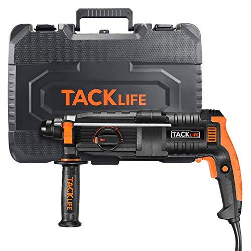 tacklife 800w martillo perforador, 2.8j energía de impacto, velocidades variables 0-3200 rpm, 5 funciones, utilizado para concreto, metal y piedra, embrague de seguridad y varios accesorios - lrh01a