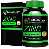 Earths Design ZINC as Gluconate, 50mg Tablets, Mineral Supplement that Helps Maintain Male Fertility, Promotes Hair Growth and Skin Care, Increases Muscle Repair and Muscle Growth - 90 Tablets by Earths Design