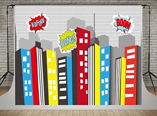 Geburtstag Party Foto Booth Hintergrund Comics City Hintergründe Fotografie Fotowand Hintergrund Kinder (Superhelden-foto)