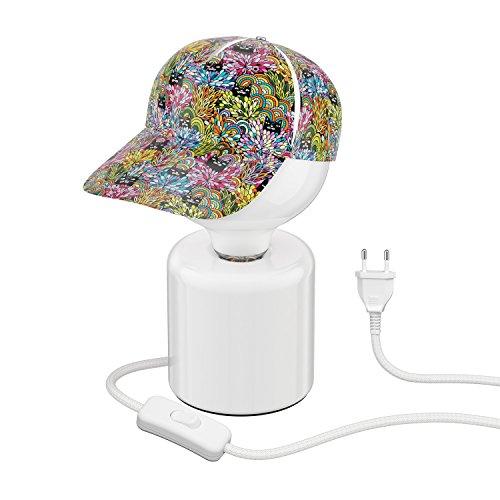 ledscom.de Tischlampe TIPO Porzellan rund Kugel inkl. E27 G125 Lampe extra matt warm-weiß 800lm & Blendschutz-Cappy Katzen im Dschungel