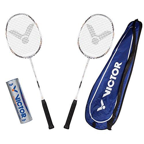 VICTOR Badminton Set, 2x Atomos 800 / Racketbag / 3x Nylonball - Silber/Weiß