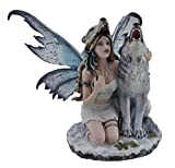 zeckos Snow Wolf Huntress Statue Fee mit Heulender Wolf