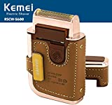 Kemei 2 in 1 Leather Case Men Electric Shaver Reciprocating Rechargeable and Cordless Razor Vintage km-5600 Coffee