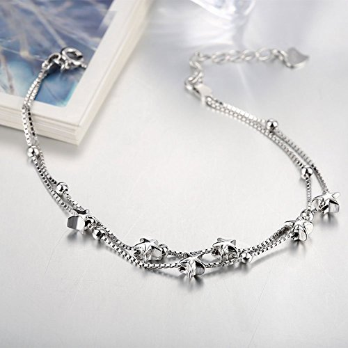Elegant Mini Stars Beaded Charm Bracelet 925 Sterling Silver Box Chain Layered Women's Bracelet Dainty Jewellery SVAeN436g