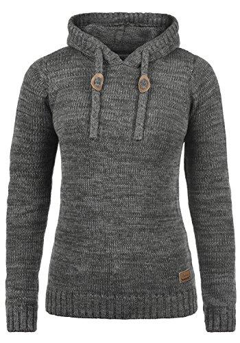 DESIRES Philla Damen Winter Strickpullover Troyer Grobstrick Pullover mit Kapuze, Größe:M, Farbe:Dark Grey (2890) -