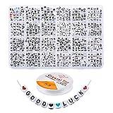 Souarts - 1 Scatola da 1200 Perline acriliche quadrate con Lettere dell'alfabeto dalla A alla Z e Cuore d'Amore per Bambini, assortimenti Fai da Te, creazione di Gioielli con Corda Elastica