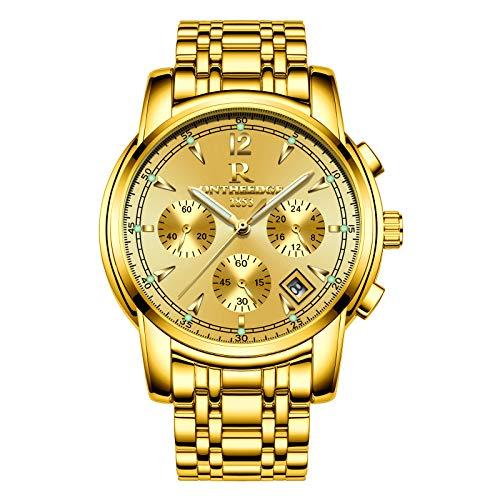 Orologio al quarzo moda sport militare in acciaio INOX Band impermeabile 30 m con cronografo orologio e calendario moda abito da uomo(D'oro)