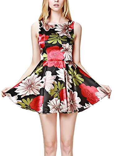Frauen Kleid Blusenkleider Druckkleider Faltenrock Rundkragen Ärmellos Trägerlos Flower Schlank Fee Strandkleid Dünn Rüschen Rot