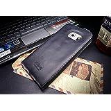 URCOVER® Akira Genuine Leather   Housse de Protection Samsung Galaxy S7 Edge   Cuir Véritable in Flip noir   Étui Coque Mince Fermeture Magnétique Support Á rabat