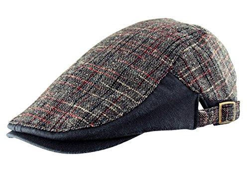 Itzu Homme Coton Country en Tweed à Carreaux Simili Cuir Casquette Plate Golf Baker Boy Bleu Marine