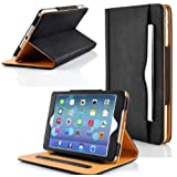 Zonewire® BLACK & TAN LEATHER WALLET SMART FLIP CASE COVER & SCREEN PROTECOR FOR APPLE IPAD 2 3 4 AIR WITH FULL SLEEP WAKE COMPATIBILITY! (Ipad 4)