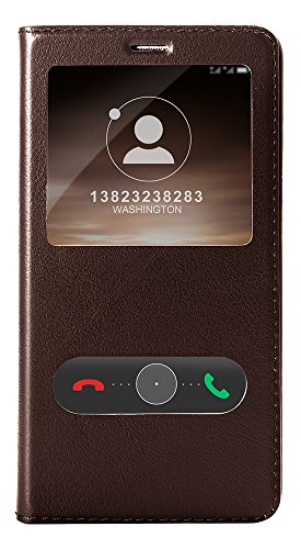 Huawei Mate 9 Custodia, Huawei Mate 9 Cover, Pasonomi Custodia in vera pelle Protettiva Cuoio Portafoglio Flip Cover S-View per Huawei Mate 9 con Chiusura Magnetica, Marrone