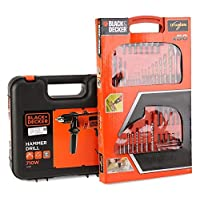 ‏‪Black   Decker CD714REK Corded Electric Drill with Black   Decker A7066 Titanium Drilling 50 Pieces‬‏