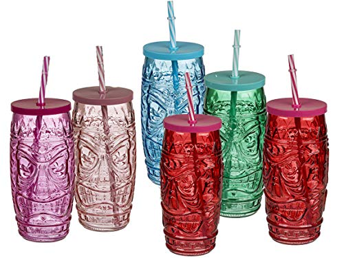 Bada Bing 6er Set Trinkglas Tiki mit Deckel und Strohhalm Glas Tiki Bar Hawaii 06