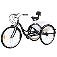 MuGuang Adult Tricycles 26 Inches 7 Speed 3 Wheel Adult Trike Adult Bike Cycling with Shopping Basket