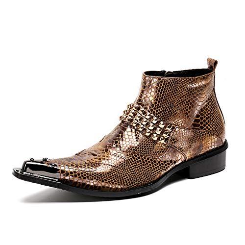 HNM Shoes Herren Stiefeletten Cowboy Stiefel Chelsea Cowboystiefel Lederstiefel Knöchel Lederschuhe Hochzeitsschuhe Spitze Metallzehe Kleid Party Abend,Gold,EU42/UK8