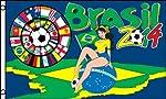 Bandiera della Coppa del Mondo 2014 brasiliana 150 x 90 cm - 2 occhielli per appendere la bandiera. Bandiera nuova sotto blister. Le bandiere della Coppa del Mondo 2014 brasiliana proposte da AZ FLAG sono fabbricate in poliestere 100D di alta qualità...