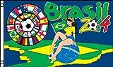 FLAGGE FUßBALL-WELTMEISTERSCHAFT 2014 BRASILIANERIN 150x90cm - FUSSBALL FAHNE 90 x 150 cm - flaggen AZ FLAG Top Qualität