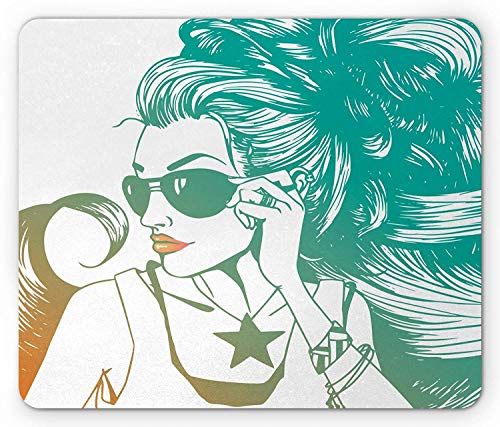 Drempad Gaming Mauspads, Makeup Mouse Pad, Young Woman with Lipstick and Thick Long Hear Wearing Sunglasses Illustration, Standard Size Rectangle Non-Slip Rubber Mousepad, Teal Orange White