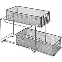 Amtido - Organizador de armario de 2 niveles para cocina, armario de baño, cajones