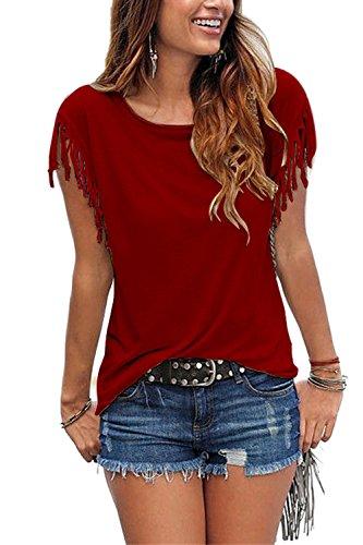 Frauen Casual Scoop Hals Tassel Flügelärmel Solid Rock - T - Shirt - Top - Pullover Plussize Wined XL (Solid Sleeve Crewneck Short T-shirt)