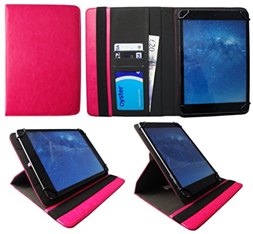 Denver TAD-10063 / TAD-10072 / TAQ-10122 / TAQ-10133 / TAQ-10153 10.1 Zoll Tablet Rosa Universal 360 Grad Drehung PU Leder Tasche Schutzhülle Case von Sweet Tech
