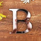 3D DIY Lettres Alphabet Décoratives Argent, Créatif Acrylique Surface du miroir Alphabet 26 lettres autocollant mural Fête de la décoration de la maison (B)