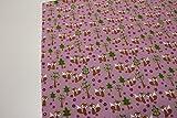 Stoff / 50cmx140cm / Kinder / beste Jersey-Qualität / Jersey Hilco Fuchs, Blumen, Bäume auf altrosa