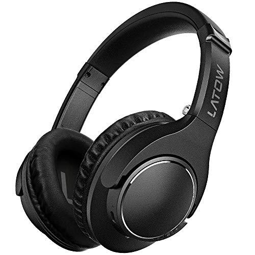 Auriculares Bluetooth, LATOW Cascos Bluetooth Inalámbricos, Auriculares con Micrófono Cascos de Diadema Plegables Headphone Bluetooth Manos Libres, para iPhone, Android, PS4, Ordenadores, TV