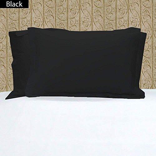 100% ägyptische Baumwolle 2PC Kopfkissen ~ 400Fadenzahl massives Muster, baumwolle, schwarz, 20